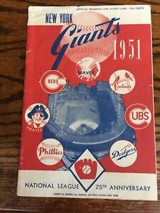 1951 NY Giants vs Cincinnati Reds Baseball Program