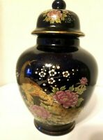 Cobalt blue ginger jar w gold peacocks pink & white flowers
