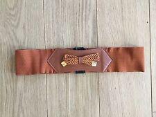 New Women's Elastic Belt   Brown   Bow Détail L