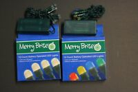 2 set Merry Brite 15x2 count Clear Bulb Battery operated LED lights Green String