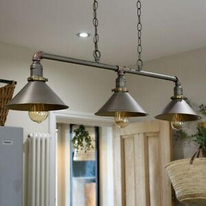 Industrial Retro 3 Way Pendant Light Suspended Metal Ceiling Lamp + LED Bulbs