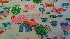 cotton nursery farm yard print material chook house quilting craft 150x112cm