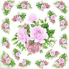 3 x Single Paper Napkins For Decoupage Craft Tissue Pink Roses Corner N386