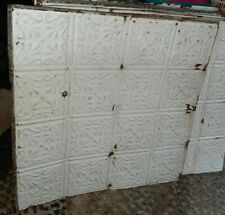 "1800s Antique 24"" x 24"" TIN CEILING Tile Repurpose Salvage Reclaim Old White"