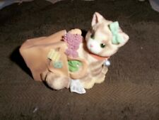 """Calico Kitten Figurine """"Happiness Doesn'T Fit In A Shopping Bag""""."""