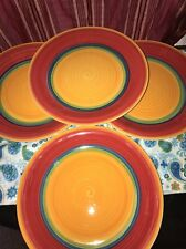 Set Of 4 Royal Norfolk Mambo Red Blue Green Yellow Center Swirl Dinner Plates