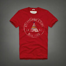 NEW Mens %ABERCROMBIE FITCH% Red White Indian Tent Logo Vintage T-Shirt Sz.M