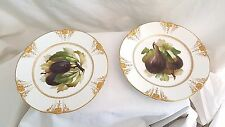 """Haviland Limoges Plates GDM Fig and Olive  Gold Fine Lacey Trim 8 1/2"""" Ch Field"""