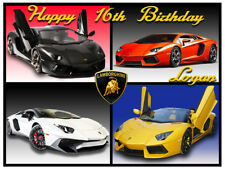 Lamborghini Sports Car Edible Icing Image Cake Topper Birthday Party Decoration
