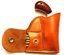 Pocket holster with ammo pouch for NAA 22 Mag Sidewinder - Leather tan