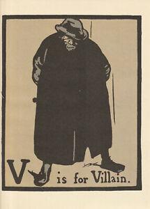William Nicholson Woodcut Print 1898 V for Villain Alphabet Lithograph 1975