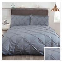 Rapport Balmoral Pinch Pin Tuck Duvet Cover Bedding Set Grey Silver