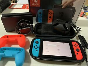 Nintendo Switch 32GB Gray Console with Neon Red & Neon Blue Joy-Con HAC-001 Lot