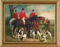 """Old Master-Art Antique Oil Painting Portrait hunting dog on canvas 36""""x48"""""""