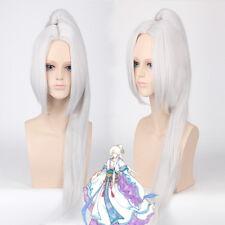 Hakuouki Toshizo Hijikata Ponytail Clip silver white Cosplay Costume Anime Wig