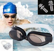 Black Nose Clip+Ear Plug + Anti fog UV Swimming Swim Goggle Adjustable Glasses