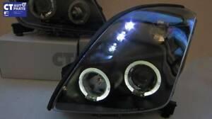JDM Black Angel Eyes Projector Head Lights for 04-10 Suzuki Swift Sport