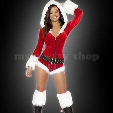TAILLE Unique S M Sexy Rouge Blanc Père Noël Mini Capuche Zip-up Teddy Costume Set