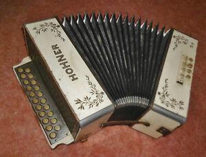 Akkordeon Hohner Wiener 21/8/ II Ton A/D Harmonika ca.1920/30er Jahre Holz weiß