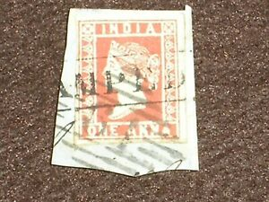 1854 INDIA Stamps QV ONE ANNA DEEP RED Die III SG15 ON PIECE FINE USED