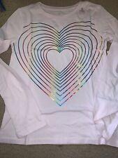 Gap Girls XL (12) Light Pink Rainbow Heart Long Sleeve Shirt GT-57