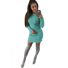 Women Long Sleeve Fluffy Sweater Top Round Neck Bodycon Mini Jumper Dress Winter