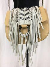 Sam Edelman NEW Donna Crossbody Flap w/ Beads Fringe Bag Nude beige (24) bx10