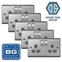 5x BG Nexus Double Socket Brushed Steel Satin Chrome Grey Insert NBS22G 2 Gang