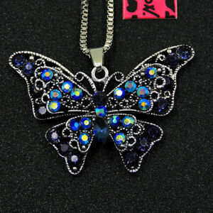 Betsey Johnson Blue Enamel Crystal Butterfly Pendant Chain Necklace Gift