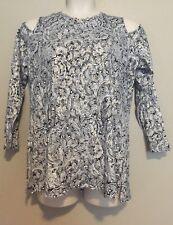 Michael Kors Women's Blue Metallic Paisley Print Cold Shoulder Top Plus Size 1X