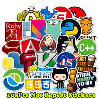 108x Developer, Programmer Stickers of Programming Languages and Internet Brands