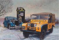 Land Rover AA Recovery Riley Falcon Classic Car Christmas Xmas Card