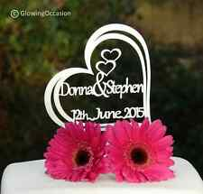 Personalised Name & Name Wedding / Anniversary Cake Topper Decoration (White)