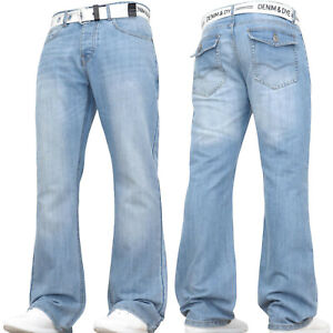 MENS JEANS NEW BOOTCUT FLARE BLUE FLARED WIDE LEG CLASSIC KING PLUS WAIST SIZES