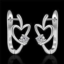 Fashion solid Silver Cute heart Crystal new wedding Zircon women Earring jewelry