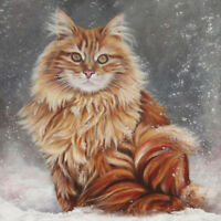 Full Drill Diamond Painting Kit Like Cross Stitch A Cat in The Snow ZY080F