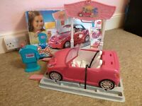 BARBIE MATTEL CAR WASH STATION WATER PUMP WITH CAR