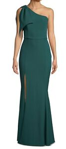 Betsy & Adam Women's Dress Hunter Green Size 14 Bow One Shoulder Gown $239 #425