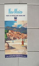 1965 New Mexico  road map Chevron oil gas route 66 Santa Fe Taos Pueblo cover