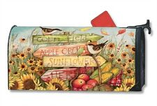 MagnetWorks Signs of Fall In Sunflower & Apple Field Magnetic Mailbox Wrap Cover
