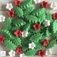 Edible Christmas Holly & Flowers Sugar Cake Cupcake  Decorations Toppers
