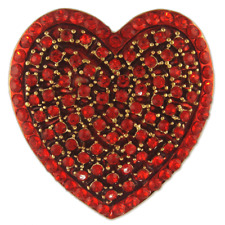 RED CRYSTAL HEART BROOCH PENDANT VALENTINE MADE WITH SWAROVSKI ELEMENTS
