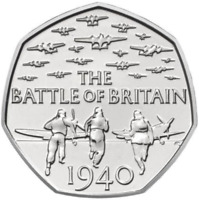 Nearly Uncirculated 2015 50p pence BATTLE OF BRITAIN with denomination RARE coin
