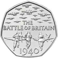 Uncirculated 2015 50p pence BATTLE OF BRITAIN with denomination RARE coin