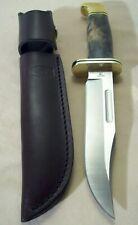 2000's~BUCK~119~CUSTOM KNIFE SHOP~UNUSED~BUCKEYE BURLWOOD HUNTING KNIFE w/SHEATH