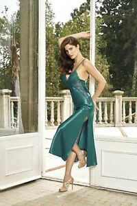 Women Top Quality Emerald Satin and Lace Nightdress  Chemise   European Products