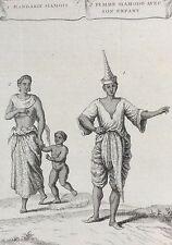 Chine Mandarin Siamois Femme Siamoise enfant gravure 1750 engraving China Asie