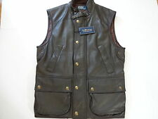New Ralph Lauren Polo Forest Green fine Lambskin Leather  Hunting Vest Slim  S