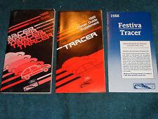 1988 MERCURY TRACER OWNER'S MANUAL SET / OWNER'S GUIDE SET / GOOD ORIGINALS!!!