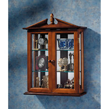 Cap & Acorn Pediment Accented Mirror Backed Hardwood Wall Curio Cabinet
